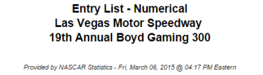 2015 nascar xfinity series vegas entry list 1
