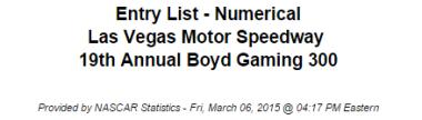 2015 nascar xfinity series vegas entry list 1
