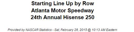 2015 atlanta nascar xfinity series starting lineup 1