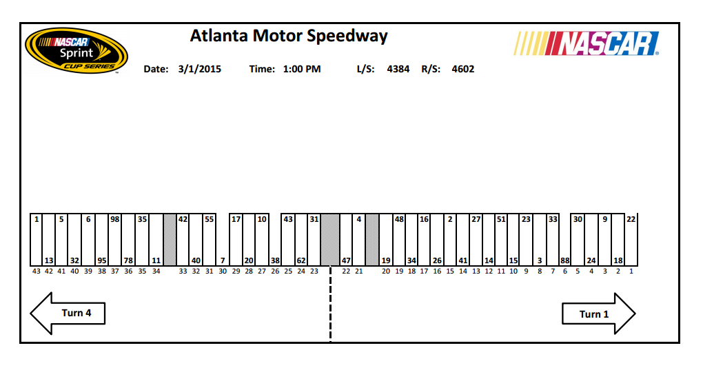 2015 atlanta sprint cup pit stall selections