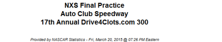 2015 friday auto club xfinity final practice 1