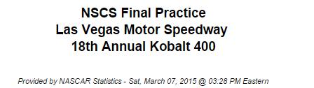 2015 saturday vegas final practice 1